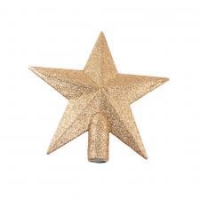 Soft Caramel Shatterproof Tree Top Glitter Star - 19cm