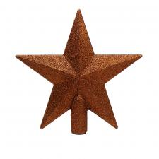 Terracotta Brown Shatterproof Tree Top Glitter Star - 19cm