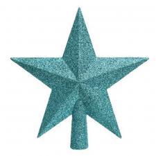 Turquoise Shatterproof Tree Top Glitter Star - 19cm