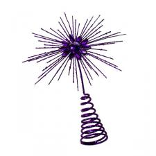 Purple Glitter Tree Top Star - 25cm