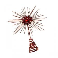 Red Glitter Tree Top Star - 25cm