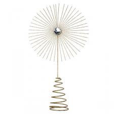 Gisela Graham Gold Glitter Jewel Starburst Tree Topper - 35cm