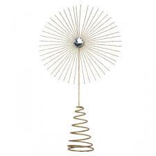 Gisela Graham Gold Glitter Jewel Starburst Tree Topper - 35cm