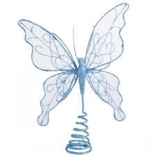 Gilt Wired Blue Tree Top Butterfly - 22cm
