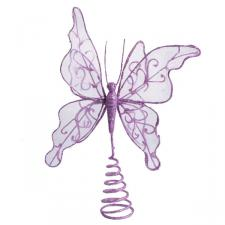 Gilt Wired Purple Tree Top Butterfly - 22cm