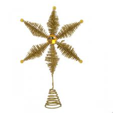 Gold Glittered Star Burst Design Tree Topper - 22cm