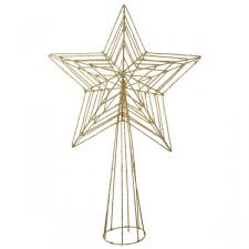 Gold 3D Wire Mesh Glitter Tree Top Star - 22cm