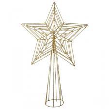Gold 3D Wire Mesh Glitter Tree Top Star - 22cm