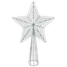 Silver 3D Wire Mesh Glitter Tree Top Star - 22cm