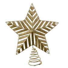 Gold 3D Glitter Metal Tree Top Star - 22cm