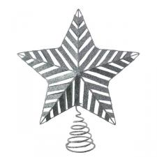 Silver 3D Glitter Metal Tree Top Star - 22cm