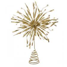 Gold Glitter & Bead Metal Tree Top Star - 22cm