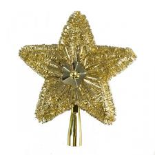 Light Gold Tinsel Tree Top Star - 23cm