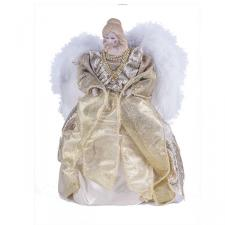 Gold Tree Top Angel With Feather Wings - 30cm