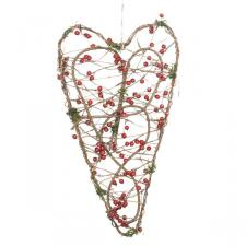 Gisela Graham Red Berry Twig Heart Wreath - 50cm