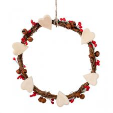 Gisela Graham Twig & Berry Heart Wreath - 18cm