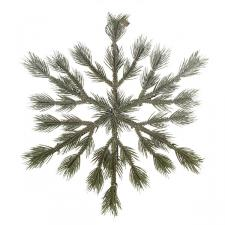 Green Foliage Snowflake Wreath - 39cm