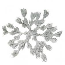Frosted Green Foliage Snowflake Wreath - 36cm