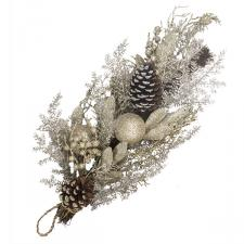 Champagne Gold Foliage, Bauble  And Cone Range - 70cm Teardrop