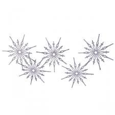 Silver Glitter Snowstar Hanging Garland - 1m