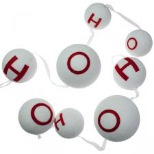White Snowball Garland With Red Lettering - 130cm