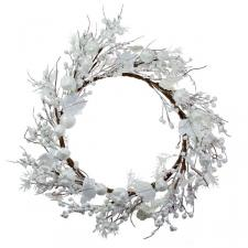 White Festive Wreath With Fruits Decoration - 45cm