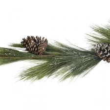 Snow Sprinkled Green Garland With Pinecones - 150cm