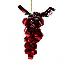 Red Jingle Bell Grape Cluster Hanging Decoration - 10cm