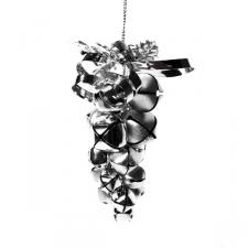 Silver Jingle Bell Grape Cluster Hanging Decoration - 10cm