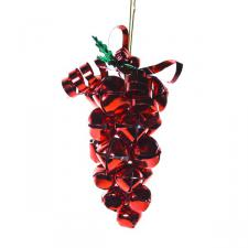 Red Jingle Bell Grape Cluster Hanging Decoration - 15cm