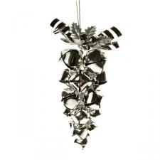 Silver Jingle Bell Grape Cluster Hanging Decoration - 15cm