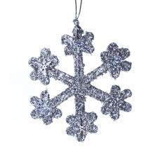Silver Icy Snowflake Hanging Decoration - 30cm