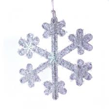 White Iridescent Icy Snowflake Hanging Decoration - 11cm