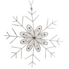 Platinum Snowflake Hanging Decoration - 30cm