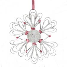 Decorative Wooden Hanging Snowflake with Gingham Ribbon - 25cm