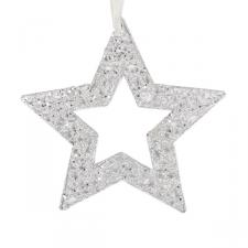 Silver Fretwork Star Silhouette Hanging Decoration - 20cm