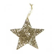 Gold Wire Star Shape Hanging Decoration -20cm