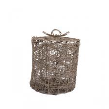 Champagne Gold Glittered Rattan & Metal Gift Box - 13cm x 13cm Round