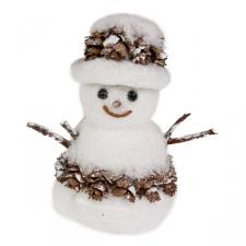 White Sparkle & Cone Snowman Ornament - 10cm