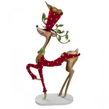 Standing Reindeer with Velvet Top Hat & Tails - 28cm
