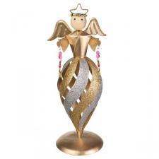 Glittered Gold/Silver Swirl Design Angel Ornament - 26cm