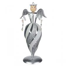 Glittered Silver/White Swirl Design Angel Ornament - 26cm
