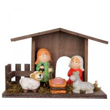 Nativity Set In Wooden Stable
