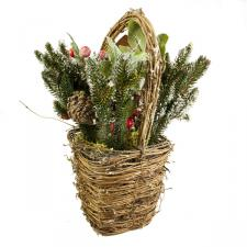 Natural Frosted Red Berry Basket - 30cm X 32cm