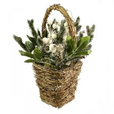Natural Frosted White Berry Basket - 30cm X 32cm
