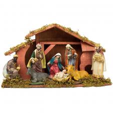 Wooden Stable Nativity Set With 8 Resin Figures