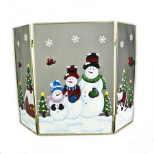 Snowmen Christmas Scene Fire Guard