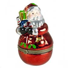 Gisela Graham Metallic Santa With Gifts Trinket Box