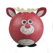 Red Recycled Paper Reindeer Ornament - 11cm
