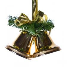 250mm Gold Double Bells With Green Branch And Golden Bows